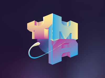 Young man... 10080sart letters type blocks clean gradient colors 80s ymca