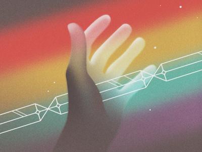 Happy Easter 10080sart gradient 80s ad lighting crystals jesus rainbow hand