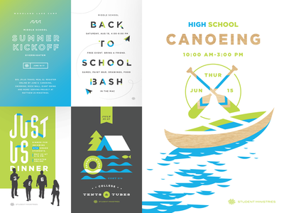 Student Ministries Postcards paper airplane seal paddle summer school camping color layout type postcards students canoe