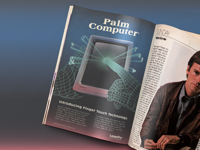 80s Palm Computer ad touch screen ad magazine vintage retro phone technology hand gradient computer 80s 10080sart