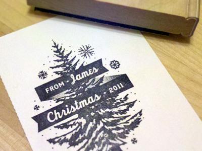 Stamp stamp christmas tree evergreen snow texture christmas tree pine tree snow flakes