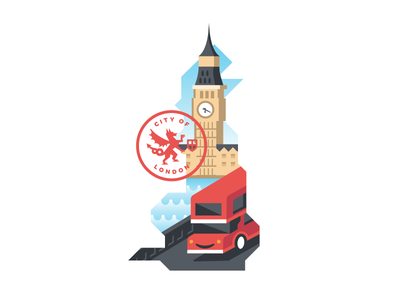 The City of London big ben double-decker bus map bridge water dragon seal contest mule sticker