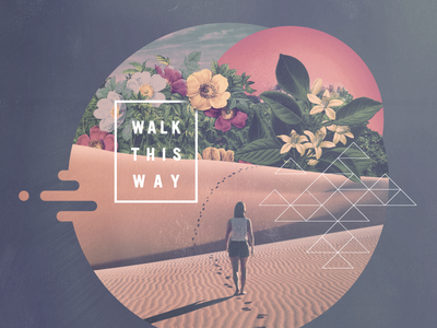 Walk This Way sun footprints desert textures peach hawaiian summer modern art series sermon 80s