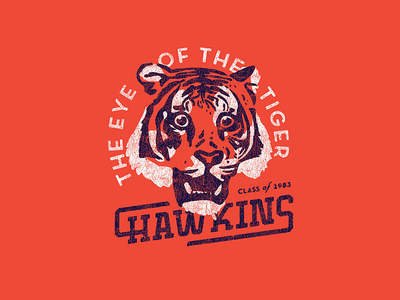 Go Tigers!! eye of the tiger vintage texture type 10080sart things stranger 80s sports shirt tiger process