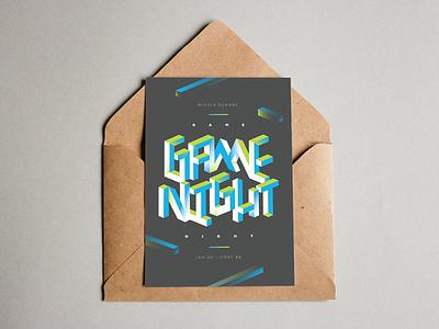 Game Night m. c. escher floating 3d bold fun gradients blocks type night game