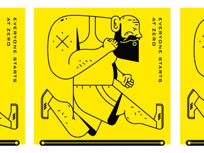 Big Guy Running yellow person sports motivation treadmill beard man guy running