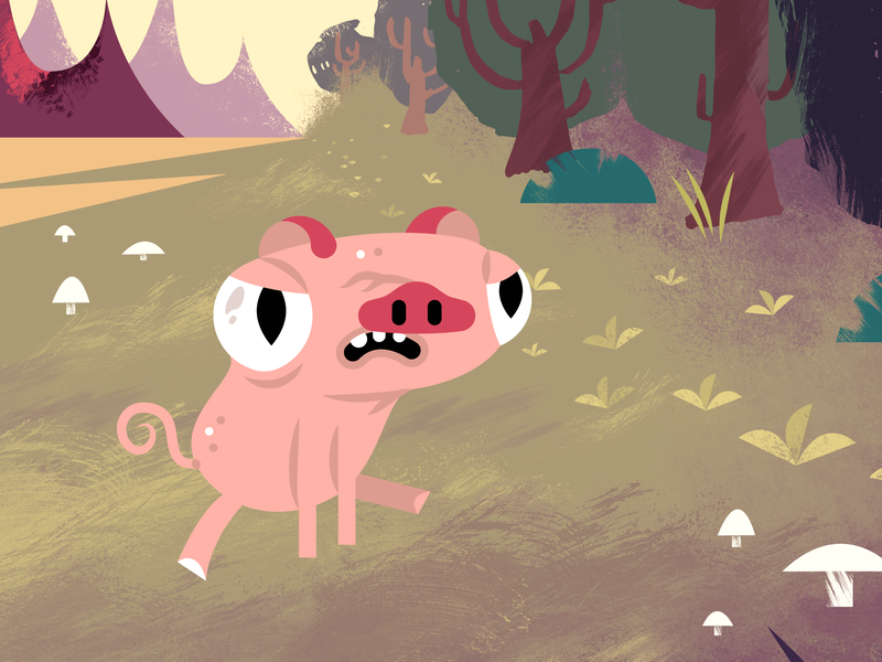 Alien Pig sci-fi alien moons mountian trees pissed mad character design character texture landscape pig