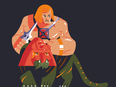 He-Man and His Dope Cat! prowling fangs tiger helmet powerful strong muscles i have the power sword typography type vintage flashback throwback retro battlecat battle cat masters of the universe heman he-man