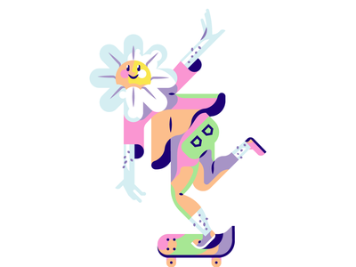Flower Power! colorful power 60s simple smile hairy hippy happy skateboard flowerpower flower