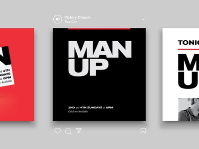 Man Up ad modern simple clean black and red masculine manly strong bold bold font type post instagram instagram design layouts layout branding man up groups church