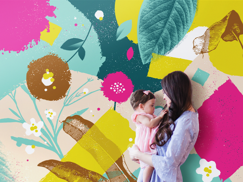 Mother's Day Photo Booth circle round family speckles sign spring bright leaves backdrop texture modern kids baby moms mothersday church photobooth floral flower mother