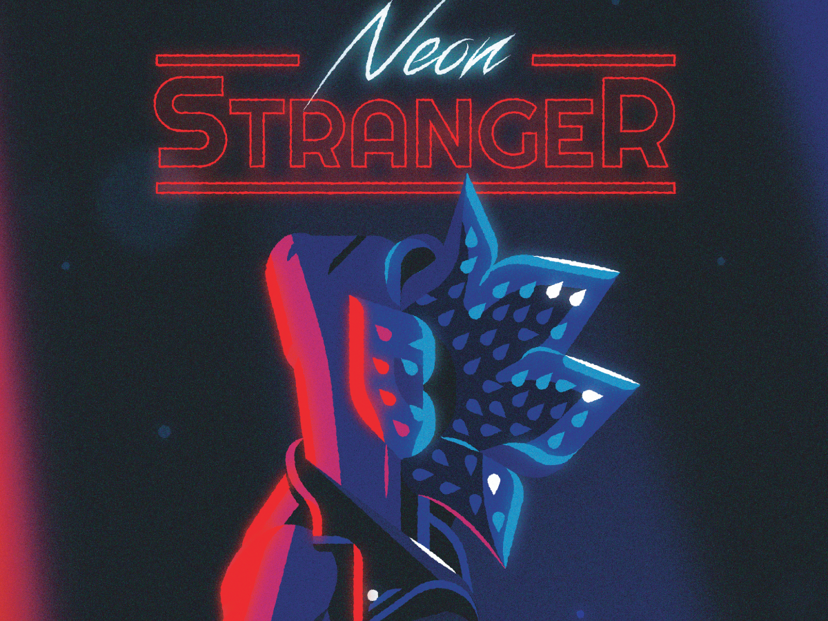 Neon Stranger 80s fashion playlist lighting leather jacket typography type neon retro 80s demogorgon stragner things