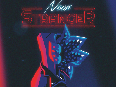 Neon Stranger 80s fashion playlist lighting leather jacket typography type neon retro 80s demogorgon stragner things