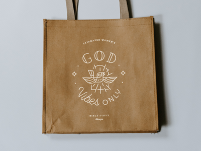 God Vibes church church marketing life white simple clean woman womens ministry bible study plant brown paper craft vintage lines typeography god badge seal bird bag