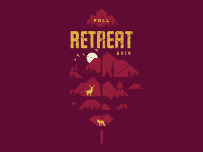 Fall Retreat - Leaf church student ministry youth group autumn autumn leaves mountains tennessee dog sketch branding logo poster layout texture wolf fox deer cabin fall leaf