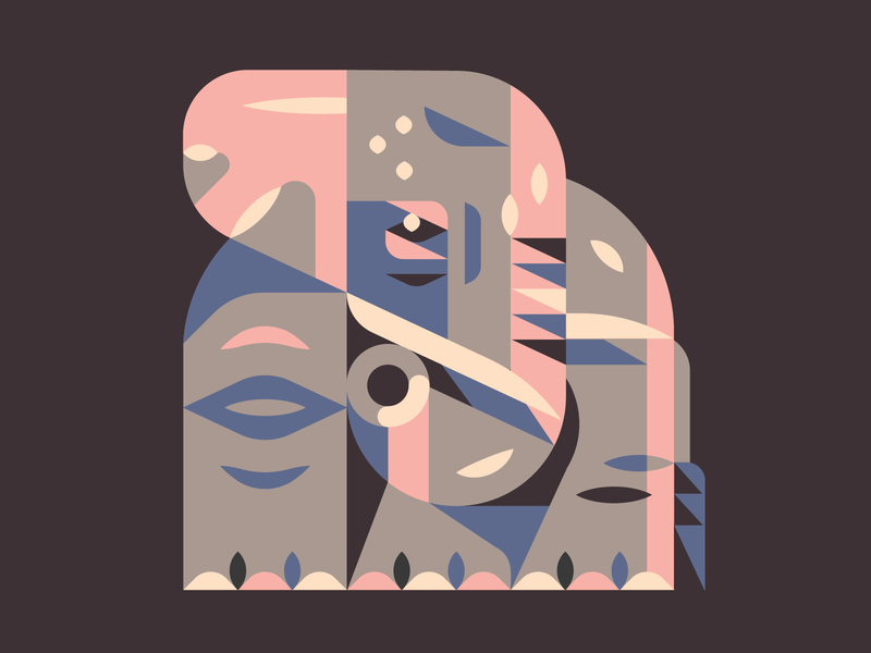 Elephant warmup fun flat gray christian jesus god father wisdom wise mother baby cute pink tusks shapes simple illustraion icon elephant