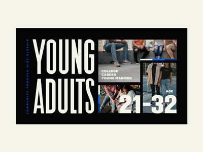 Young Adults - Option 2/3 typography type branding brand bold blue color retro modern hip youth ministry groups young adults
