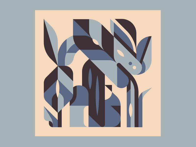Hide leaves love happy sad blue clean geometric art geometric simple shapes plants girl hiding