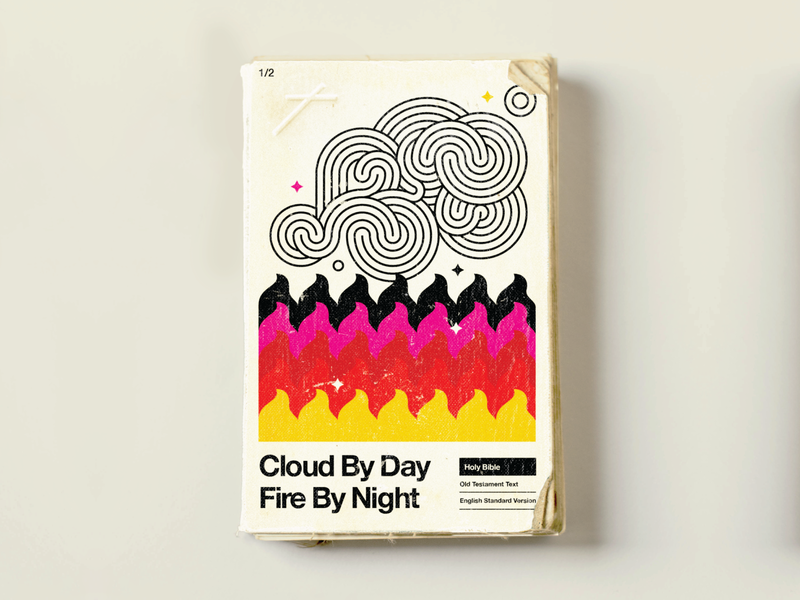 Mid-century Modern Bible illustration cover book layout vintage hipster christian mistical fire cloud god jesus bible fun cool retro mid-century modern mid-century 60s 50s