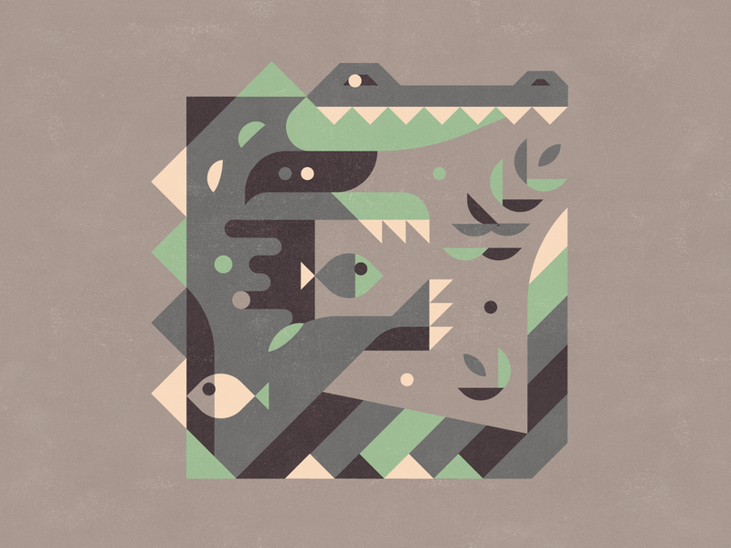 Alligator flatdesign simple logo square teeth fish plants leaves spikes pool bath bath time swiming fun modern clean simple texture lines shapes
