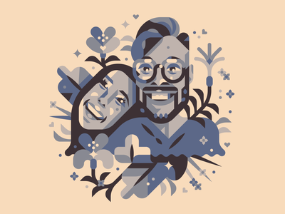 Christian & Christina glasses clean simple shapes circle illustration plants people smile face faces 2020 one year anniversary happy love flowers couple family portrait