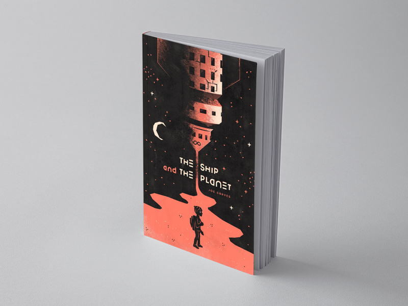 The Ship & The Planet - 3/4 concept sci-fi scifi science fiction retro vintage modern texture simple geometric stars kid boy illustration layout cover book cover spaceship space ship