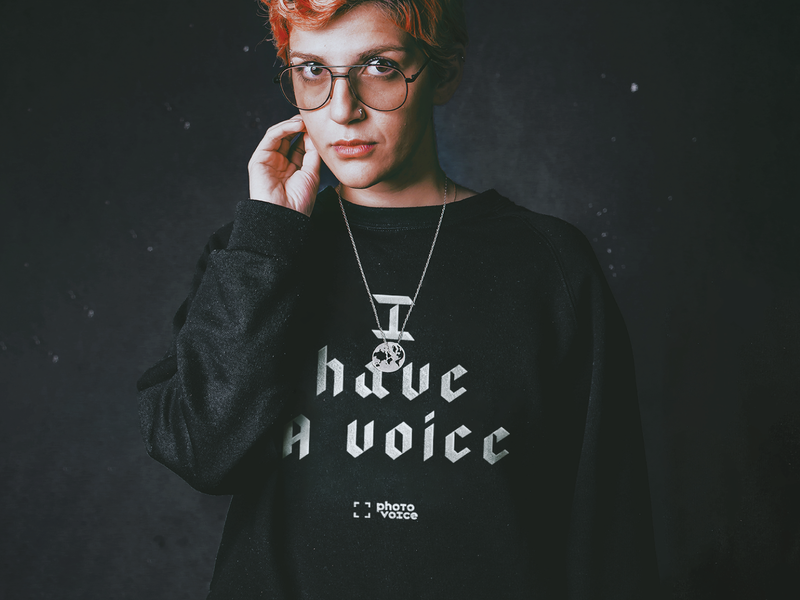 Photo Voice poverty project invite handout flyer cards layout hoodie shirt logotype mark brand breakout voice social justice polaroid photo logo branding brand typogaphy