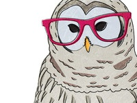 Owl with pink glasses