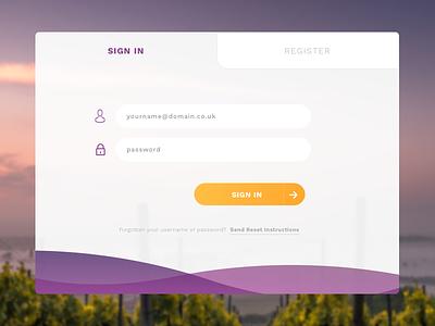 Login UI element orange purple tab input button login ui
