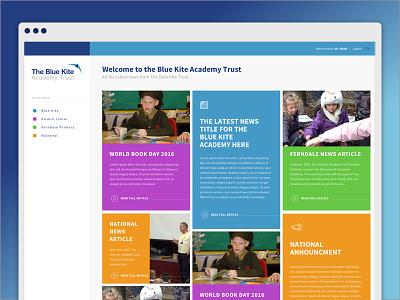 Bluekite News feed web app design icon desktop web clean flat news user experience ux grid app web app