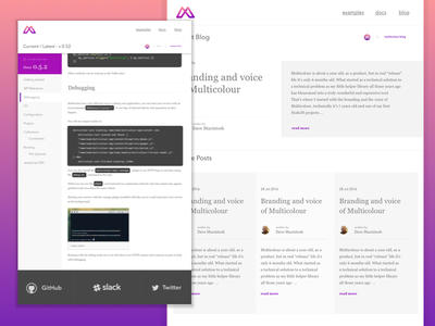 Multicolour Updates flat branding logo documents blog api purple pink web design design ui