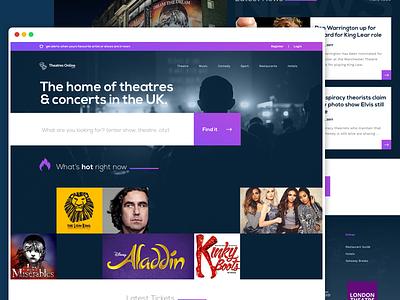 Theatres Home Page sketch flat design type dark theatre home search purple ui web design