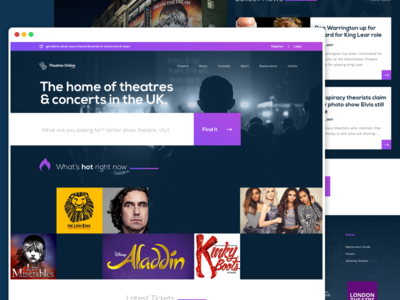 Theatres Home Page sketch flat design type dark theatre home search purple ui web design