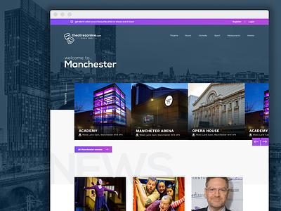 Location page for Theatres online minimal design flat clean desktop app web typography purple ui web design
