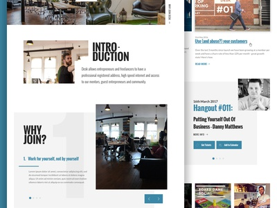 Desk Cowork - design concept news carousel slider blog images clean bold typography ui web design