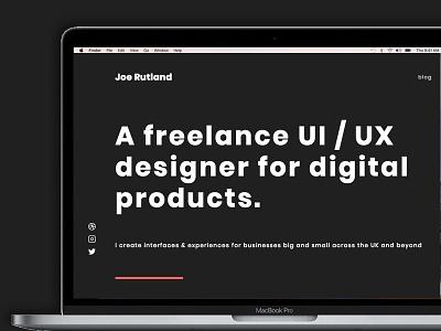 New Portfolio Site desktop web freelance dark black announcement portfolio ui designer webesign