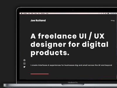 New Portfolio Site desktop web freelance dark black announcement portfolio ui designer webesign