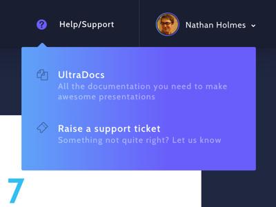 Help Dropdown modal ux interaction gradient web design app webapp support help user interface ui dropdown