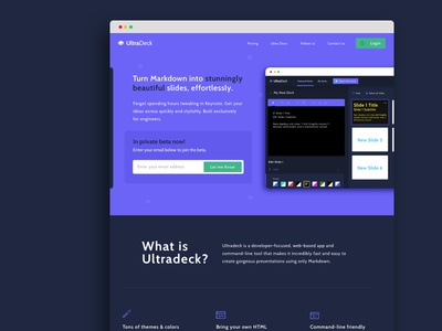 Ultradeck Marketing Site icons input ui design web app sass blue purple editor ui web design