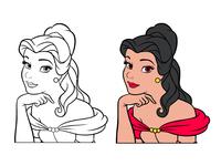 Princess Fancy Line Drawing Redraw