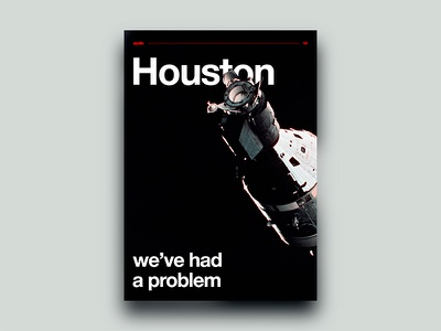 Houston, we've had a problem plakat saturn moon black apollo helvetica houston space poster