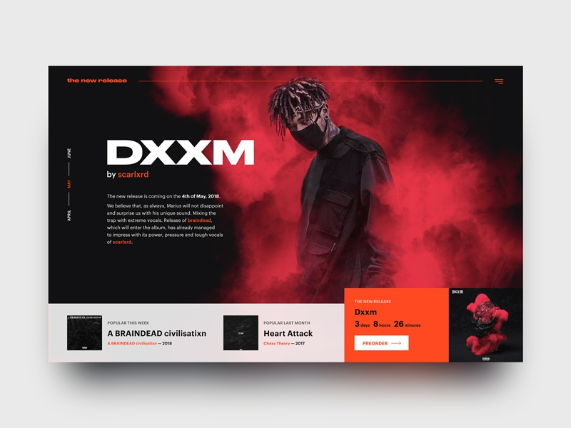 new release page concept — scarlxrd – dxxm by Val Borisenko