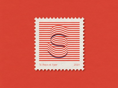 S op art vintage stamp 36days 36dayoftype editorial illustration design font letters type lettering typography