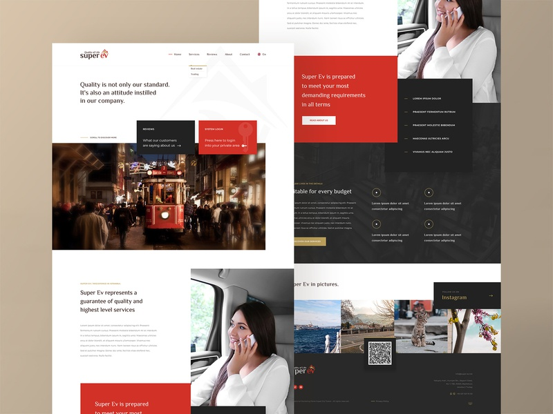 Super Ev - Homepage trading services real-estate onyxdev istanbul creativedesign consultancy cleandesign