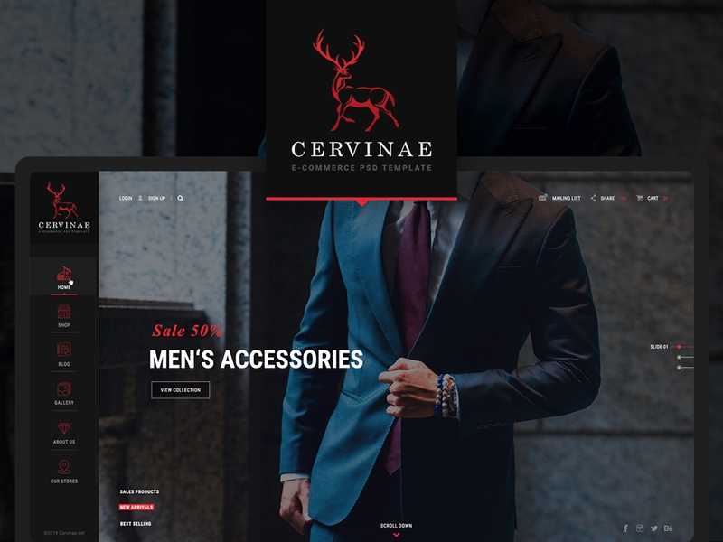 Cervinae - Modern E-commerce Website Template luxurious fancy dark ui red watches store shop search retail modern masonry leather fashion e-commerce dark coming-soon clean blog accessories
