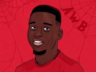 Aaron Wan-Bissaka man utd manchester united manchester procreate app art painting portrait soccer procreate flat football design illustration