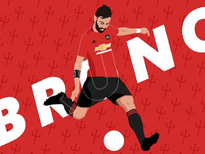 Bruno Fernandes illustration procreate sports sports design footballer premierleague mufc bruno fernandes soccer 2d flat football design illustration