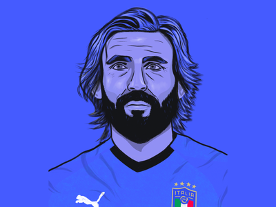 Andrea Pirlo - Ice Cold portrait drawing procreate art juventus italian azzurri italy pirlo soccer football design illustration