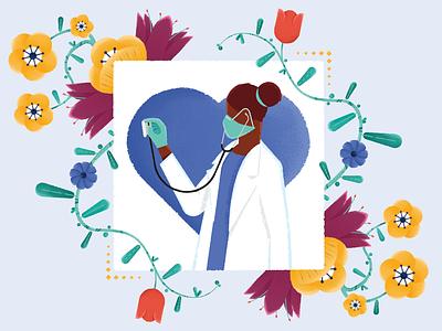 Flowers - For NABS art auction flowers illustration charity brushes art print nhs design illustration procreate nurse flowers