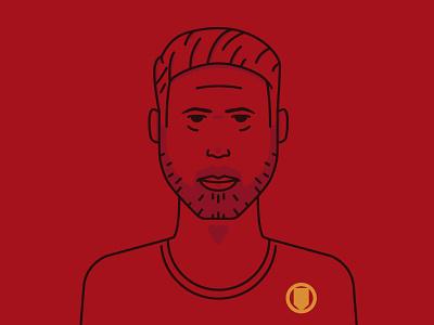 Identity redesign flat branding icon vector art illustration thick lines logo football man united social media identity